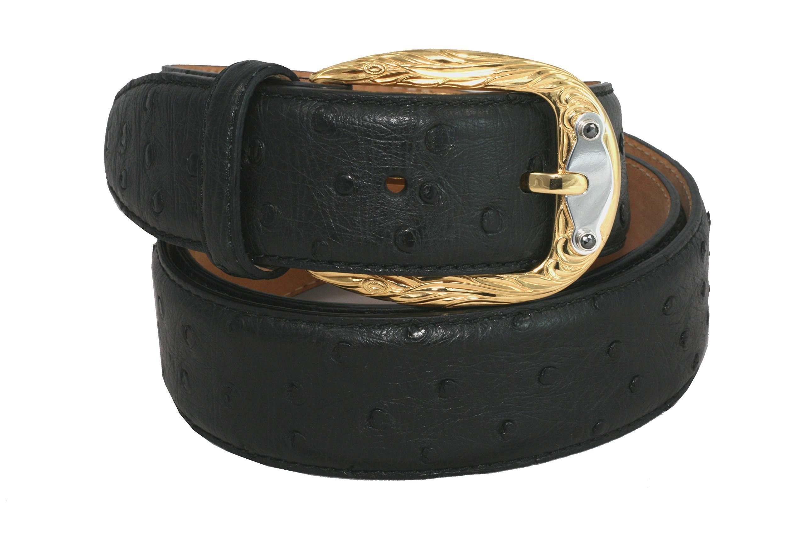 Belt by Urso Luxury buckle Gold plated and slab Sterling silver with 2 black Diamonds in Ostrich Skin by Urso Luxury