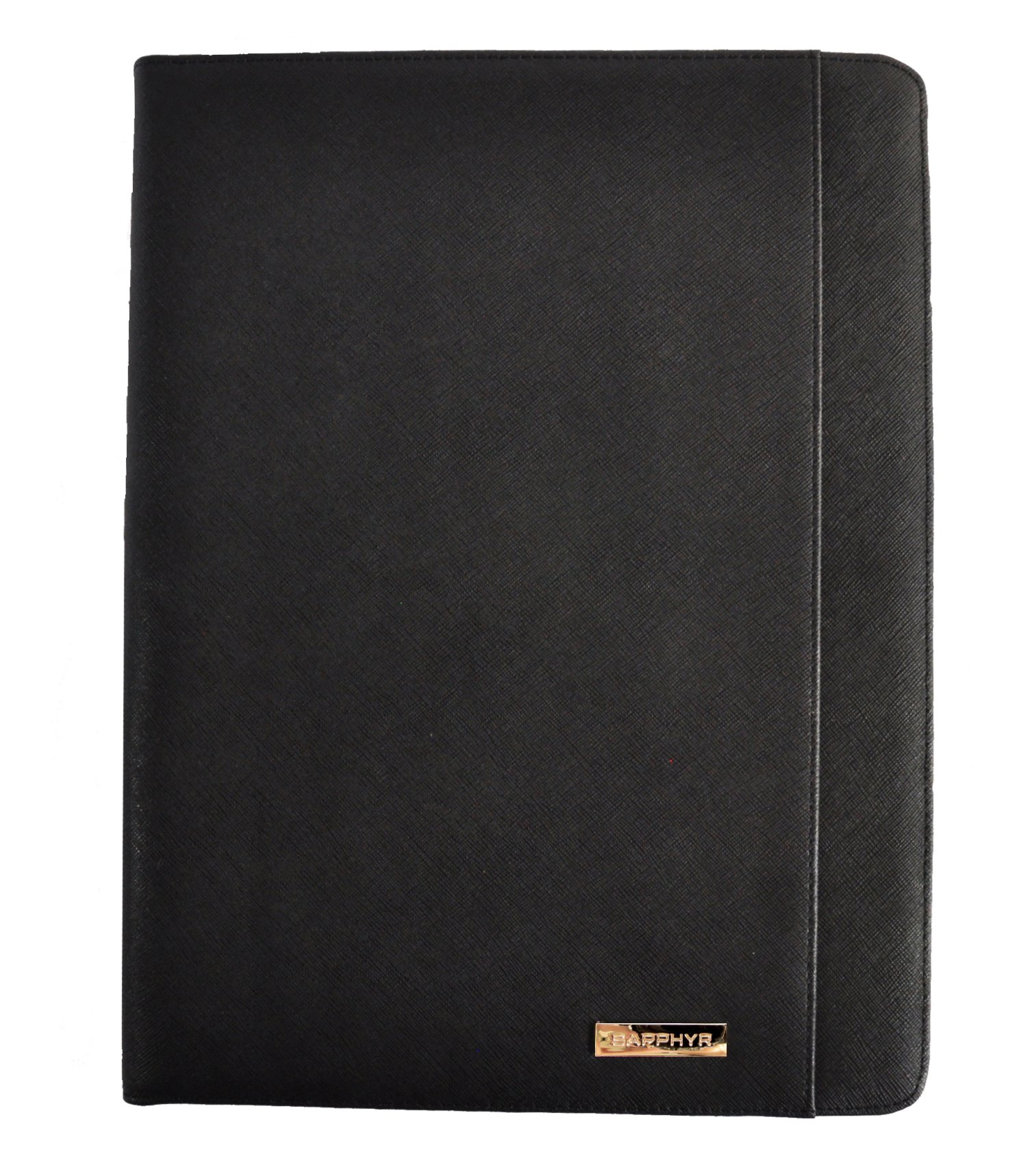 Saffiano Leather Padfolio by Sapphyr | Luxury Business Portfolio Organizer and Writing Pad | Card and Document Storage for Professionals with Included Pen (Black Saffiano)