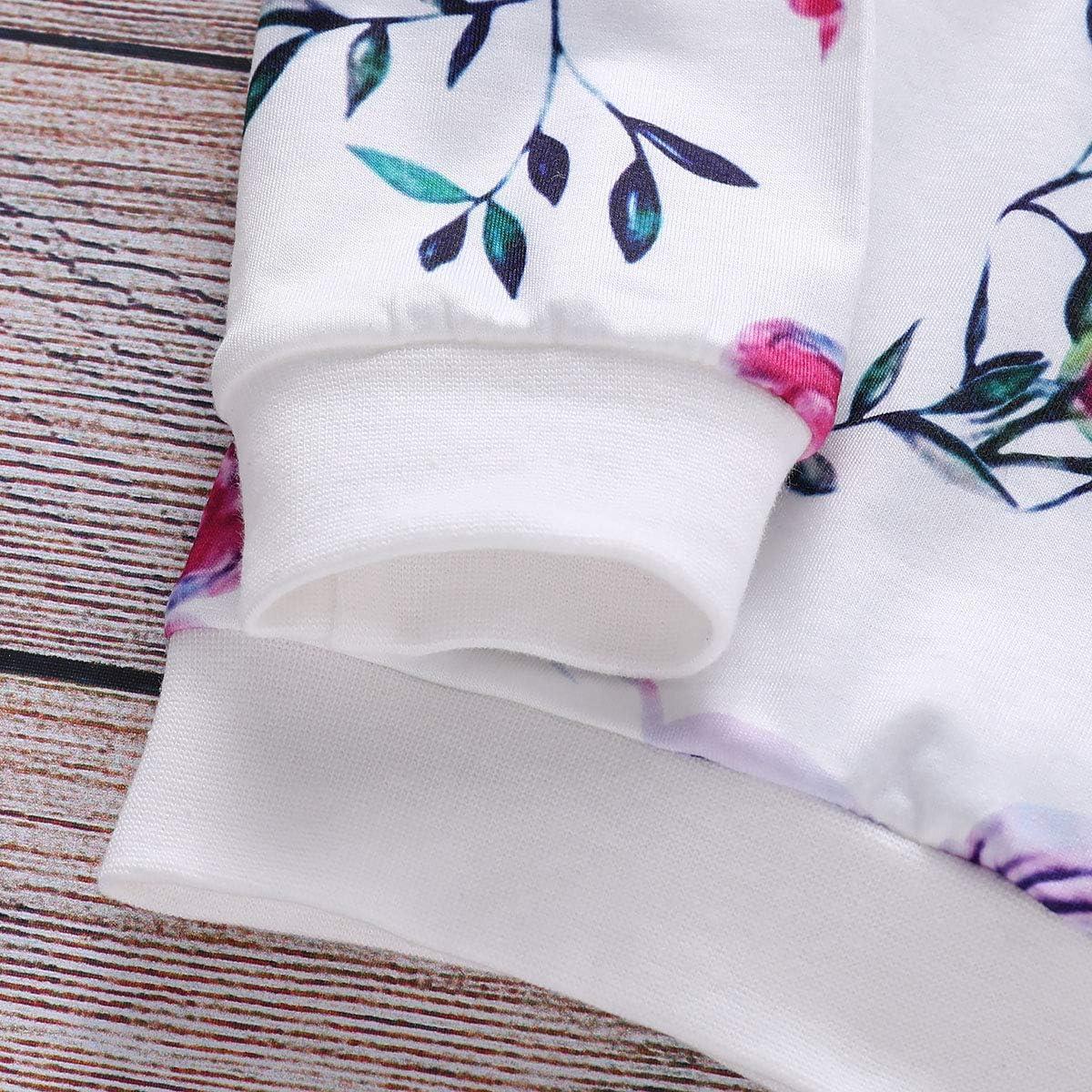 T-Shirt PICK YOUR LOOK Baby M/ädchen Kleidung f/ür Neugeborene mit floralem Muster Outfit-Set Hose lang/ärmelig Tops 2 St/ück f/ür 0-2 Jahre