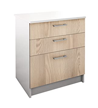 berlioz creations bas meuble de cuisine 3 tiroirs panneaux de particules frne 60