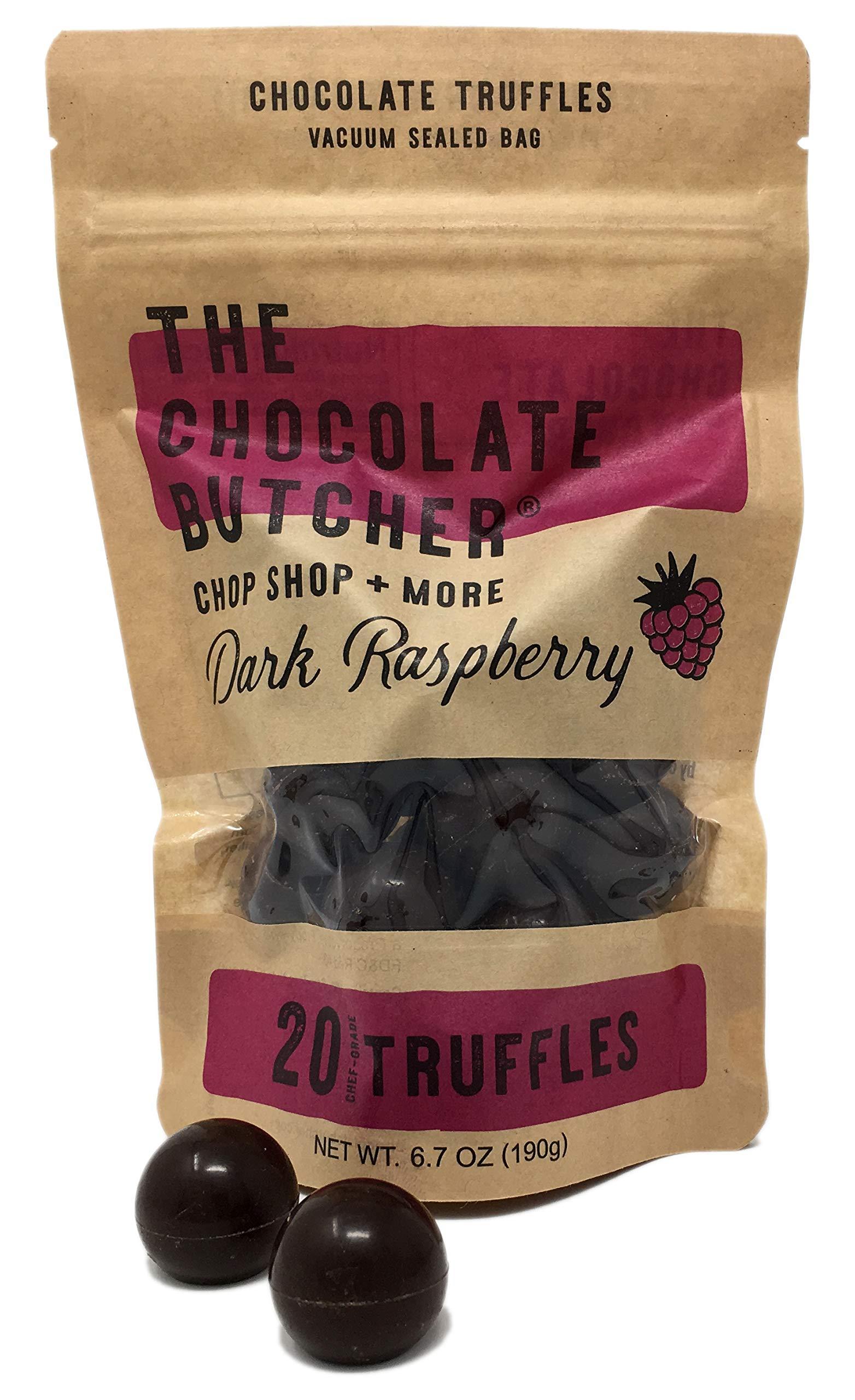 Chef-Grade Raspberry Dark Chocolate Truffles (One Bag-20 Truffles) by The Chocolate Butcher