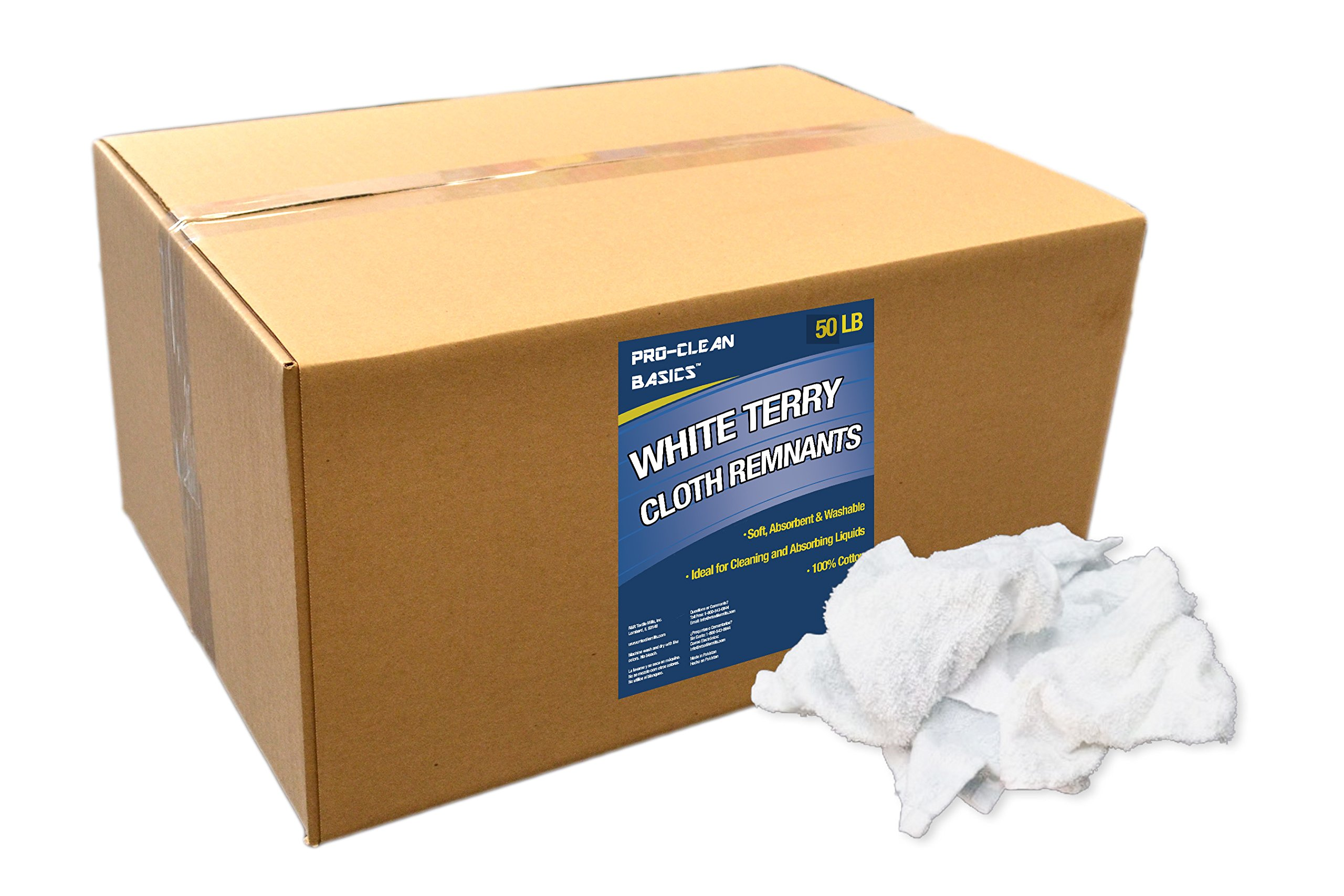 Pro-Clean Basics White Terry Cloth Rags: 50 lb. Box