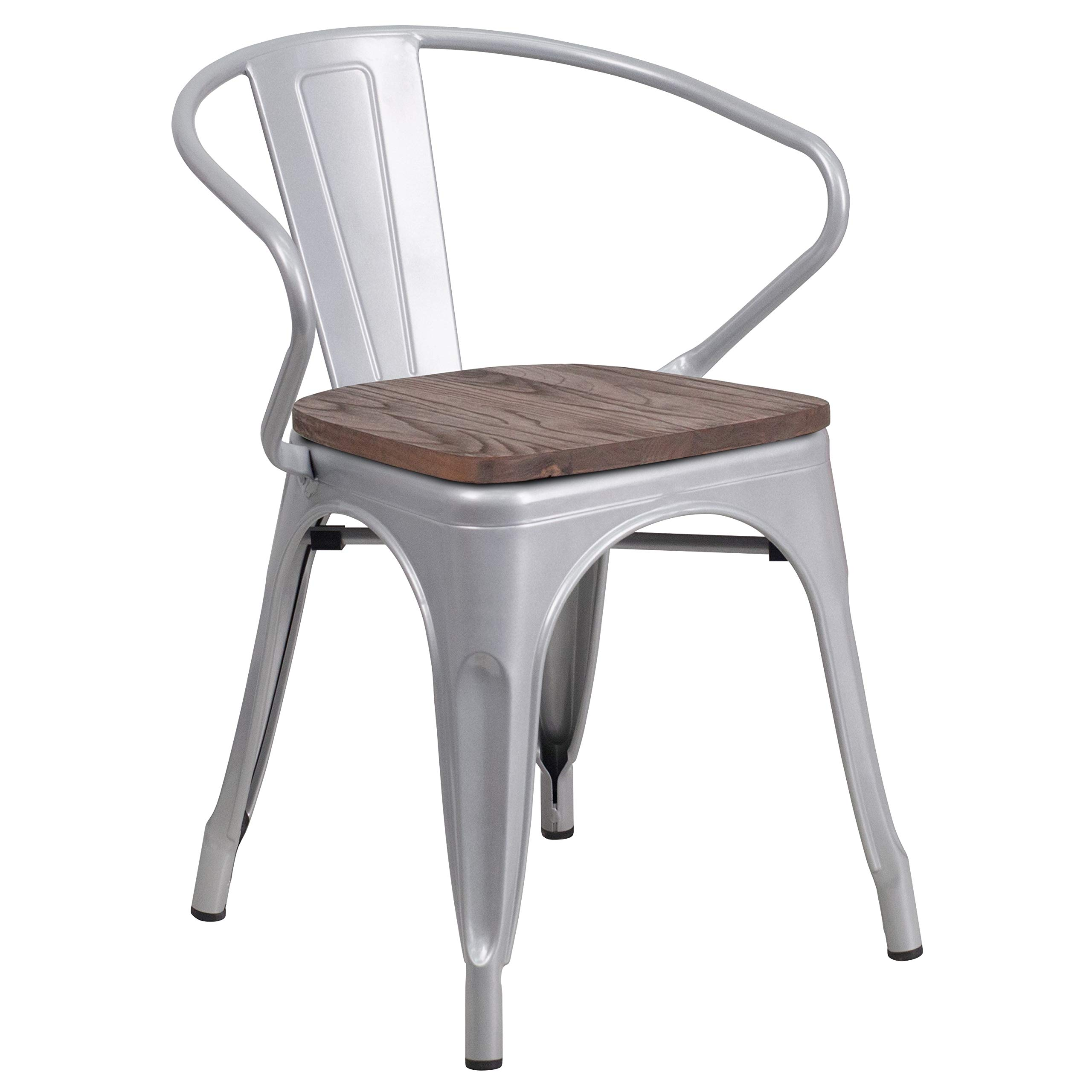 MFO Silver Metal Chair with Wood Seat and Arms by My Friendly Office