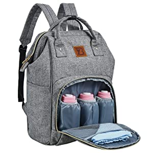 Baoyun Baby Diaper Bag Backpack for Mom Dad Travel Baby Stuff Backpack Multi-function Waterproof Baby Maternity Bag with Insulated Pockets and Large baby bookbag Grey