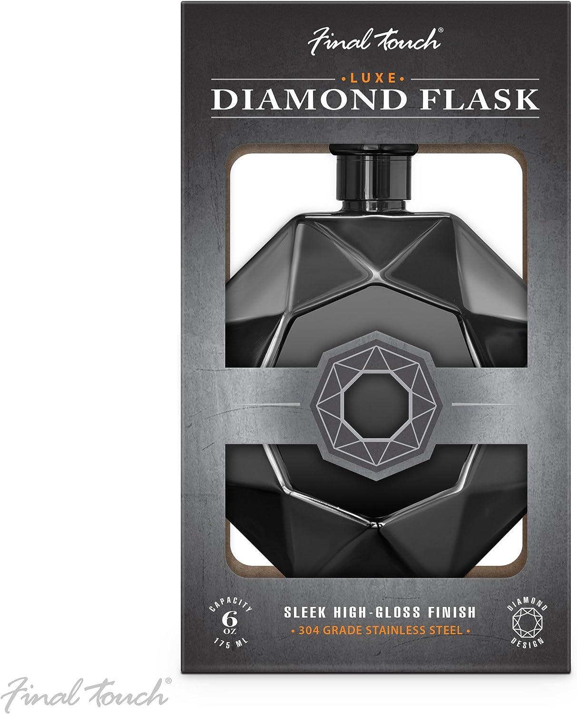 Taschengr/ö/ße 175 ml Final Touch Luxe-Flachmann mit Diamant-Diamanten-Optik kommerzielle G/üteklasse 304 Edelstahl Schwarz Schraubverschluss Unisex Alkohol-Hiplask