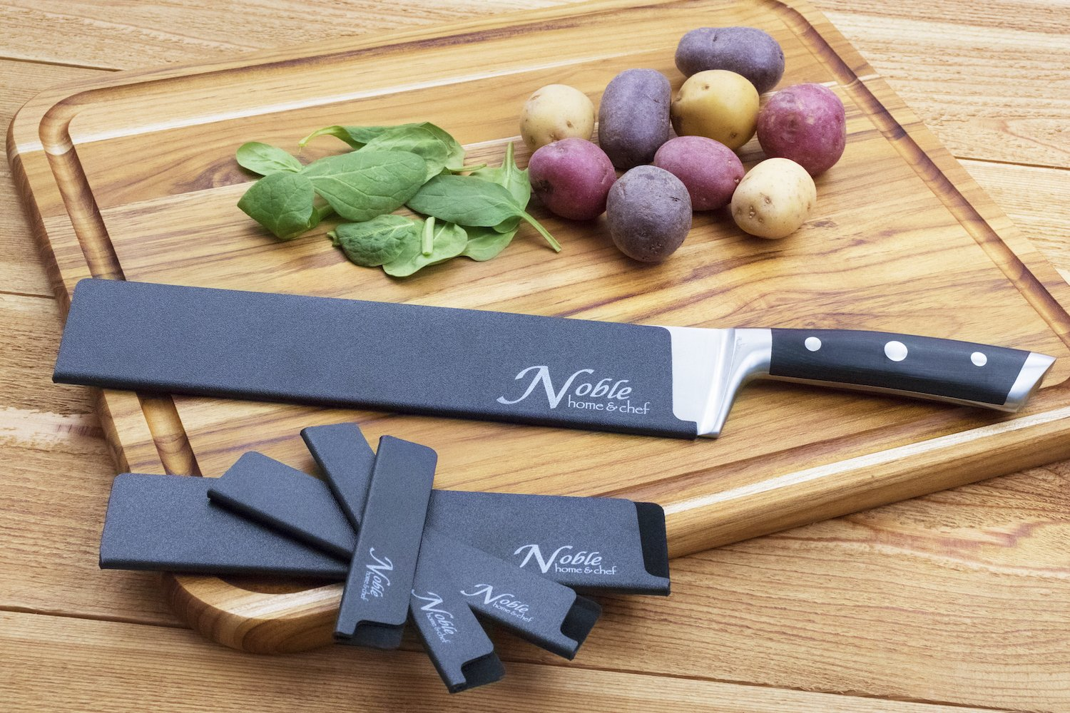 5-Piece Universal Knife Edge Guards are More Durable, BPA-Free, Gentle on Your Blades, and Long-Lasting. Noble Home & Chef Knife Covers Are Non-Toxic and Abrasion Resistant! (Knives Not Included) by Noble Home & Chef (Image #2)