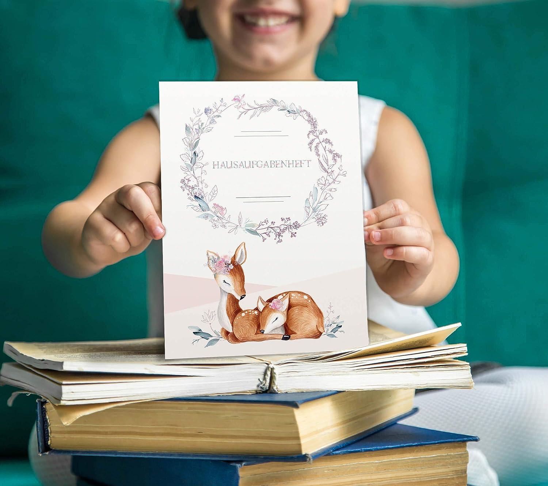 Olgs Hausaufgabenheft H/ülle Rehkitz inkl Heft Schulheft Schutzh/ülle Umschlag sch/öne Geschenkidee Hausaufgabenheft ohne Personalisierung, Amanda