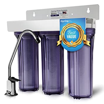 ispring wcc31 3stage under sink high capacity tankless drinking water filtration system includes