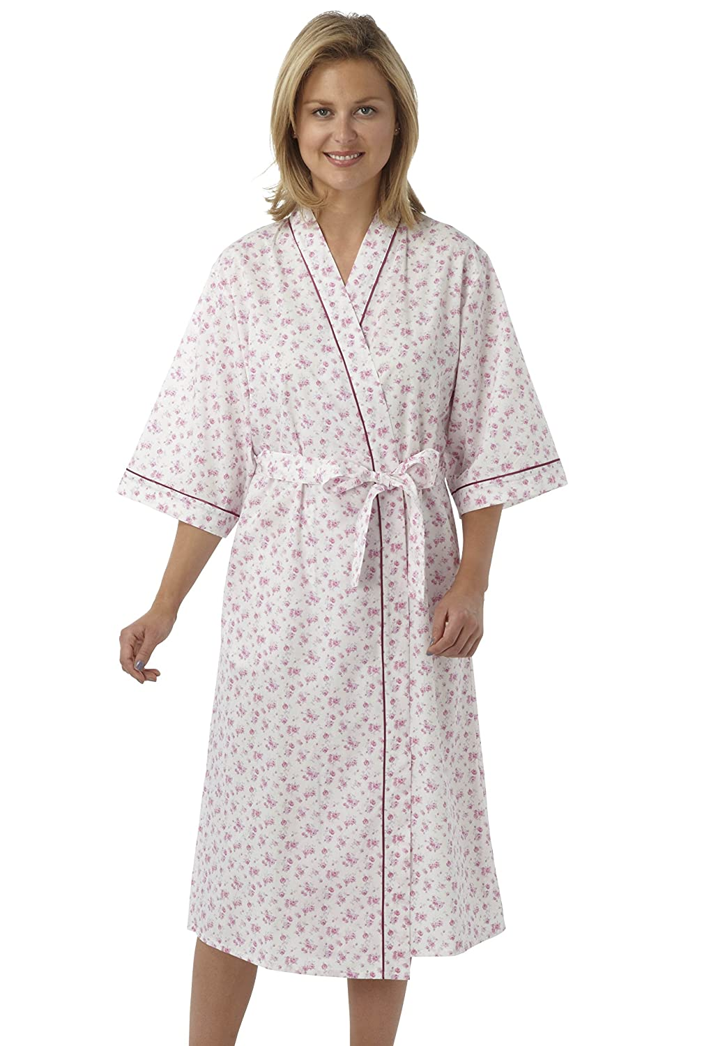 Ladies Poly/Cotton Kimono Style Wrapover Dressing Gown Pink Blue or ...