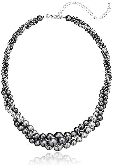 ad16b5460d2a Amazon CollectionCollar de perlas trenzadas de imitación de tres hilos