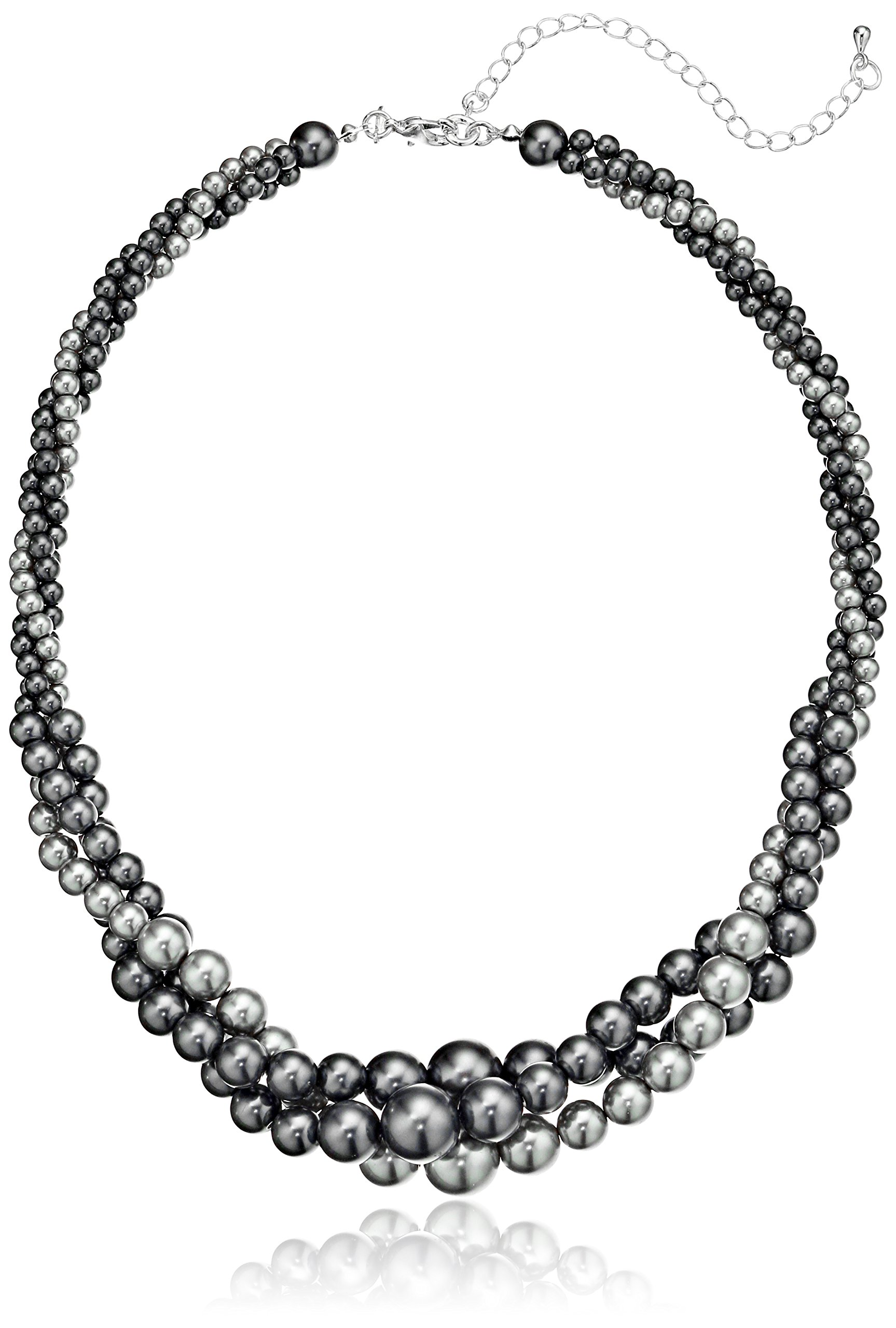 Gold Tone Grey Simulated Three Strand Twisted Pearl Necklace, 18 + 2''