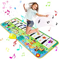 Luchild Piano Mat dansmattor pianomatta 130 x 48 cm musikmatta pianomatta 8 djurröster pianotangentbord leksak…