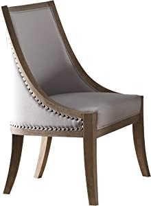 ACME Furniture Eleonore Side Chair, Taupe and Weathered Oak
