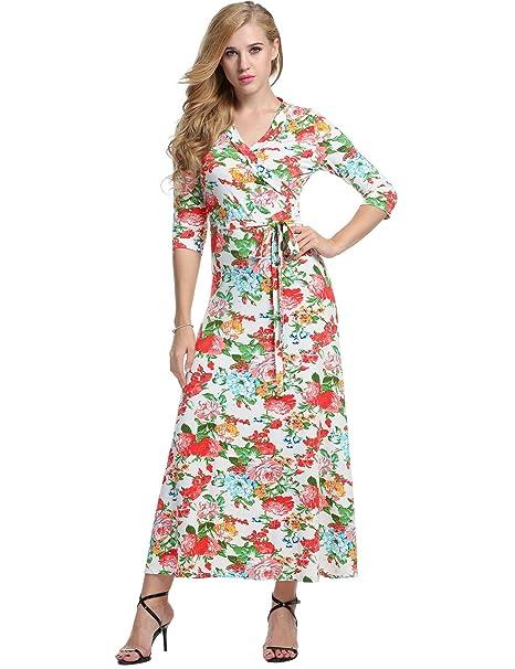 c3e6a01da Meaneor Vestido Mujeres Manga 3 4 Casual Cuello V Floral Elegante Noche  Fiesta Largo  Amazon.es  Ropa y accesorios