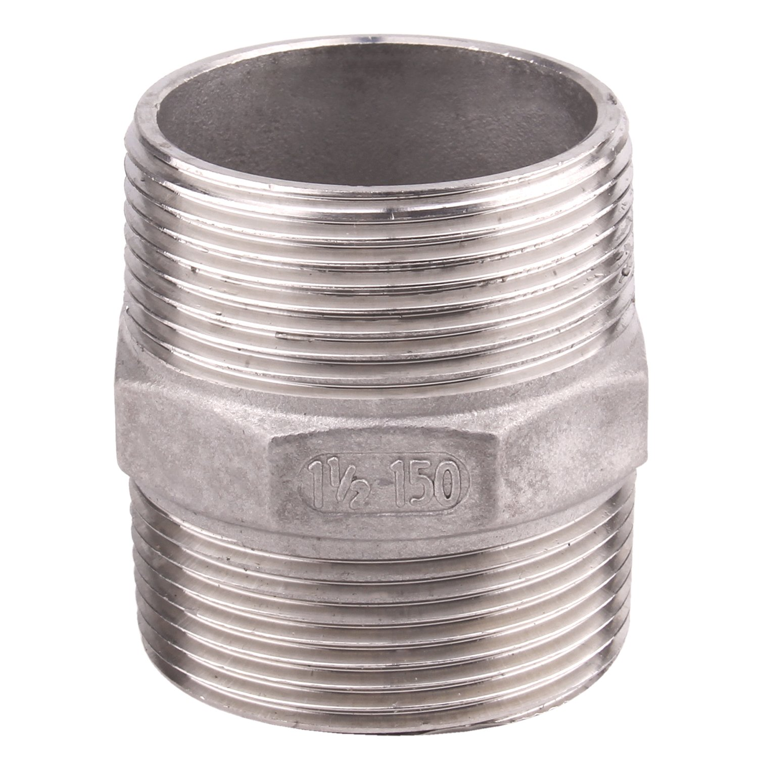 Hex Nipple 1 1/2'' Male NPT - DERNORD Stainless Steel 304 Threaded Pipe Fitting 1 1/2'' for Brew Kit, Home Piping Application