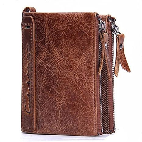 Modesty para hombre auténtica piel bifold Monedero doble cremallera bolsillo tipo cartera(marrón)-