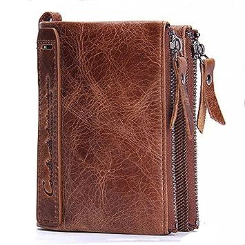 Modesty para hombre auténtica piel bifold Monedero doble cremallera bolsillo tipo cartera(marrón)- hd001: Amazon.es: Equipaje