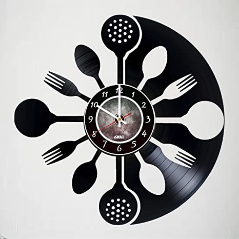 Amazon Com Iskra Shop Sutlery Vinyl Record Wall Clock Get Unique Kitchen Wall Decor Gift Ideas For Men And Women Friends Teens Cafe Unique Art Design Of Kitchen Decorations Home