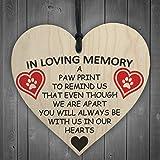 Red Ocean In Loving Memory Pet Paw Print Hanging Wooden Hanging Heart Plaque Memorial Sign