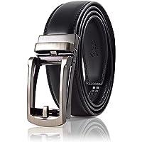 SIGLO® Cinturón para Hombres de Piel con Hebilla Automática – Diseño sin Agujeros – Cinturón de Clic Ajustable – Se adapta a tamaños 30-44 – Corte a su Ajuste Exacto – Hebilla Plata Clásica