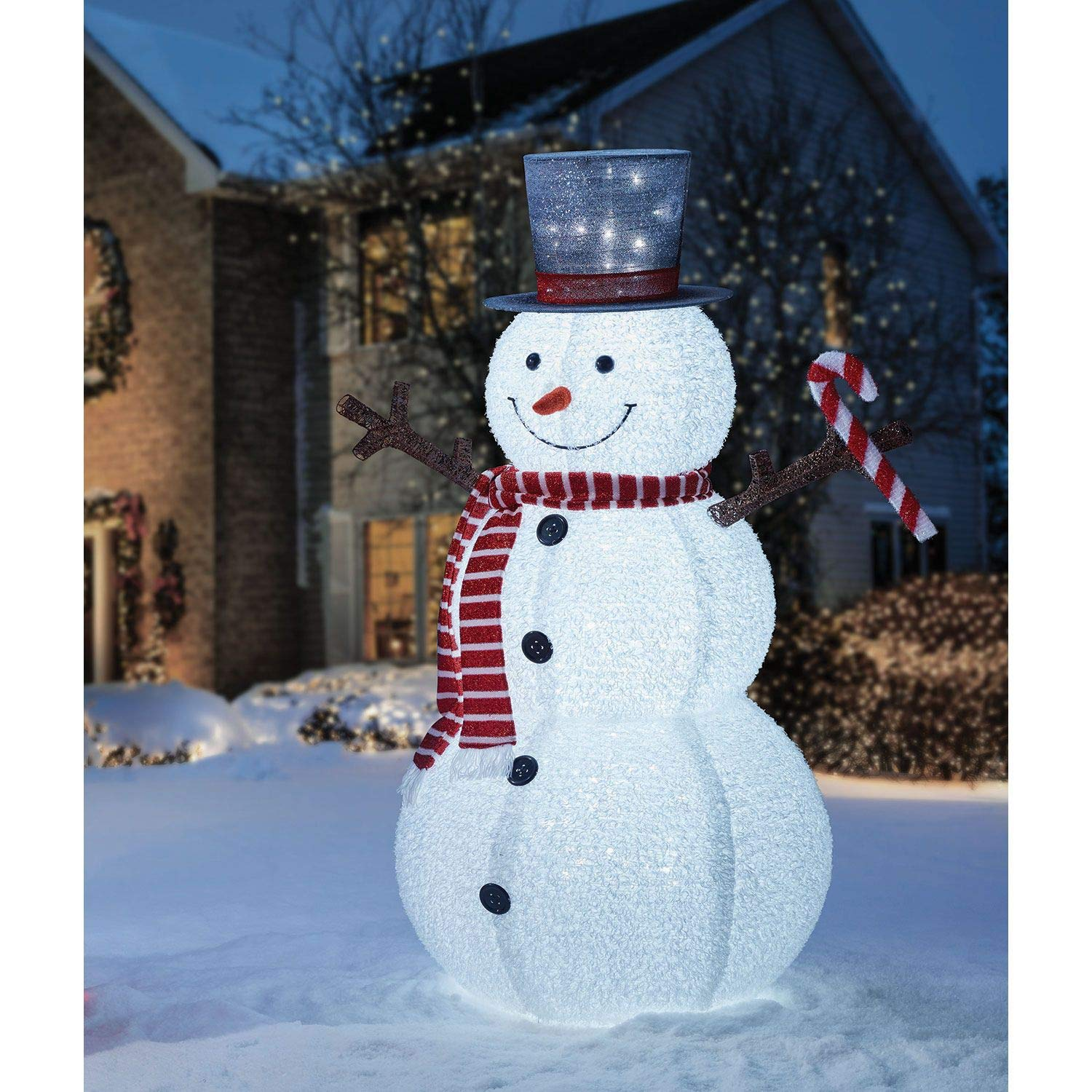72'' Pop-Up Snowman Pre-lit with 250 White LED lights & Accessories