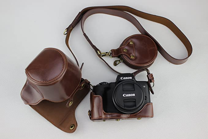 Full Protection Bottom Opening Version Real Leather Camera Case Bag for Canon EOS M6 with 15-45mm Lens with Shoulder Strap and Storage Card Case
