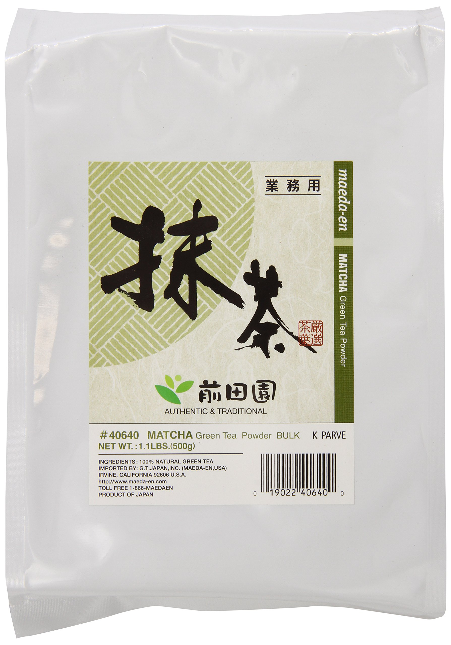 Maeda-En Matcha Powder Bulk, Matcha Green Tea Powder - 1.1 LB Large Bag by MAEDA-EN