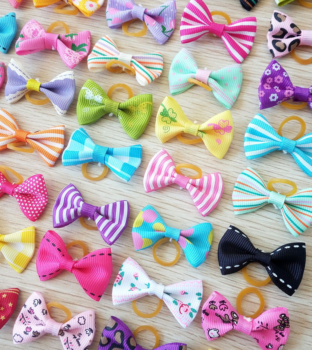 PET SHOW Pet Dog Hair Bows Bowknot for Yorkshire Girls Topknot with Rubber Bands Cat Puppy Headdress Grooming Hair Accessories Random color Pack of 50pcs = 25pairs by PET SHOW (Image #2)