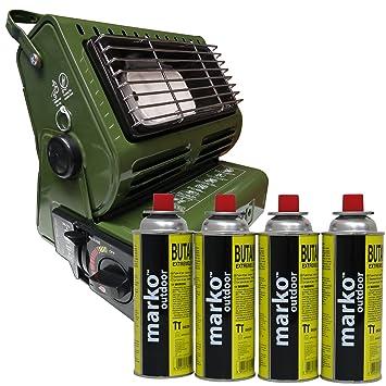 1,3 kW Portable Gas butano calentador de gas al aire libre compacto ligero 4 botes de recambio: Amazon.es: Jardín