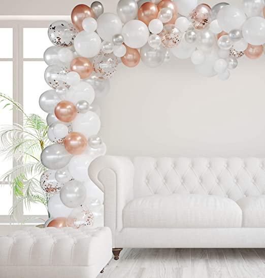 All the balloons are rose gold It... Winko Rose Gold Theme birthday Party