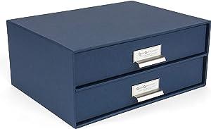 Bigso Birger 2-Drawer Fiberboard Label Frame Document Letter Box, 5.7 x 13 x 9.8 in, Blue