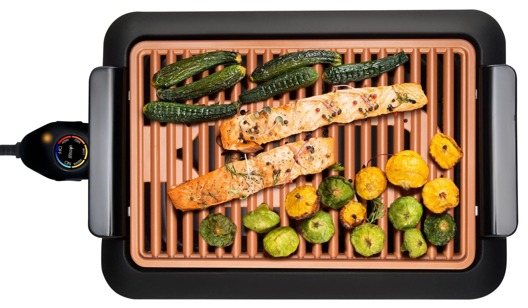 GOTHAM STEEL Smokeless Electric Grill, Portable and Nonstick As Seen On TV (Deluxe) by GOTHAM STEEL