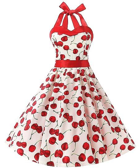 MERRYA Women Vintage Halter 1950s Rockabilly Cherry Pattern Cocktail Dress With Sash XXXL