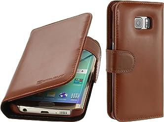 StilGut Talis, Custodia in Vera Pelle per Samsung Galaxy S6 Edge con Tasche per Carte di Credito, Biglietti da Visita e Banconote, Cognac