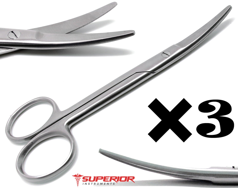 3 Pcs Veterinary Medical Metzenbaum Scissors Curved 6'' Stainless Steel Instruments