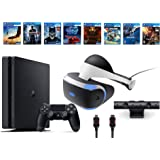 PlayStation VR Bundle 10 Items:VR Headset,Playstation Camera,PS4 Slim- Uncharted 4,7 VR Game Disc Until Dawn:Rush of Blood, EVE:Valkyrie,Battlezone,Batman:Arkham VR, DriveClub