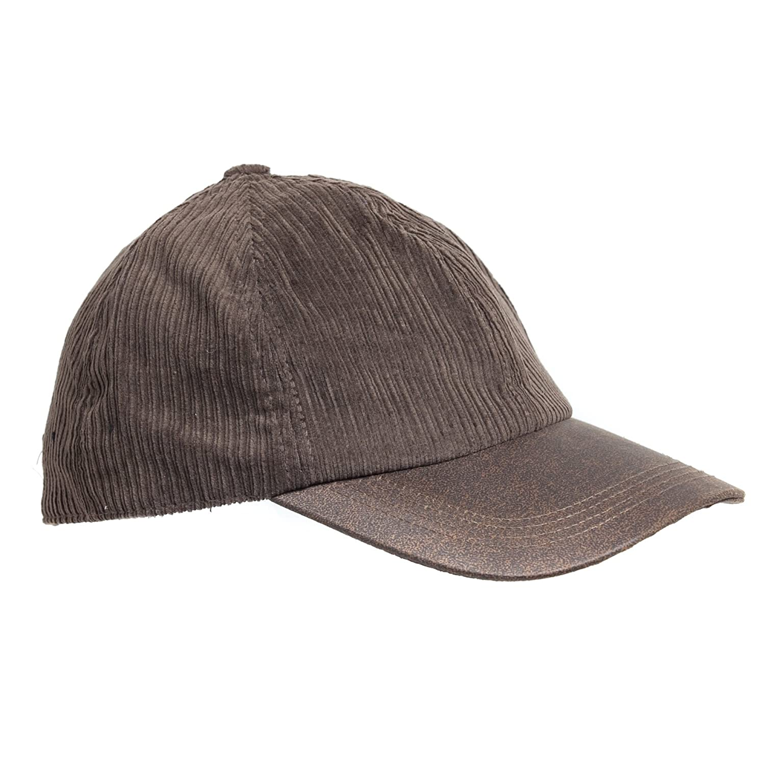 06d244f7640662 Brown Corduroy Baseball Cap w/ Brown Faux Leather Brim, Adjustable up to XL  at Amazon Men's Clothing store: