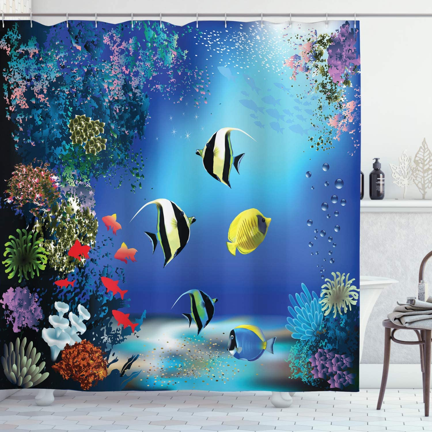 "Ambesonne Underwater Shower Curtain, Tropical Undersea with Colorful Fishes Swimming in The Ocean Coral Reefs Image, Cloth Fabric Bathroom Decor Set with Hooks, 75"" Long, Blue Navy"