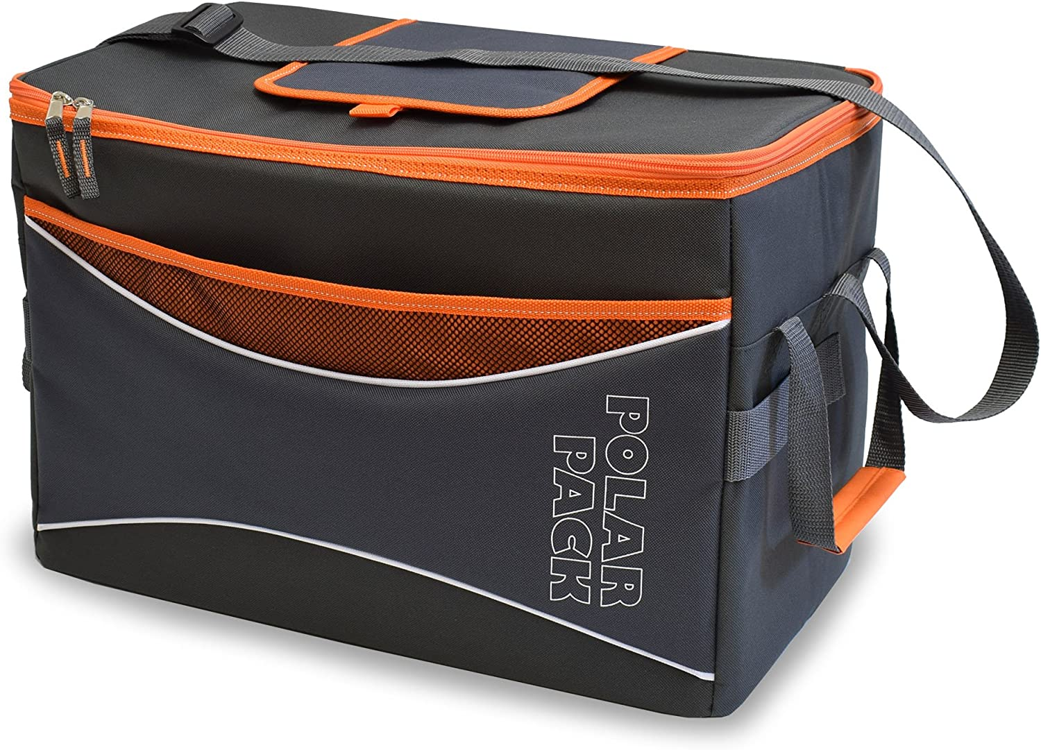 POLAR PACK Extra Large 48 Can Collapsible Cooler Bag Soft Portable Insulated Picnic Bag Outdoor Indoor Travel Lunch Bag for Camping Hiking Events Travel Concerts Sports Black Char Orange