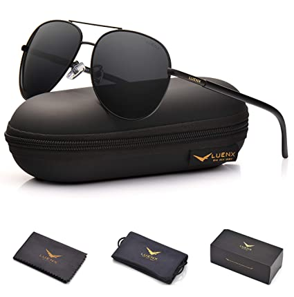 238e1b53bfc LUENX Aviator Sunglasses Polarized Non-Mirrored Men Women with Accessories-  Black Metal Frame UV