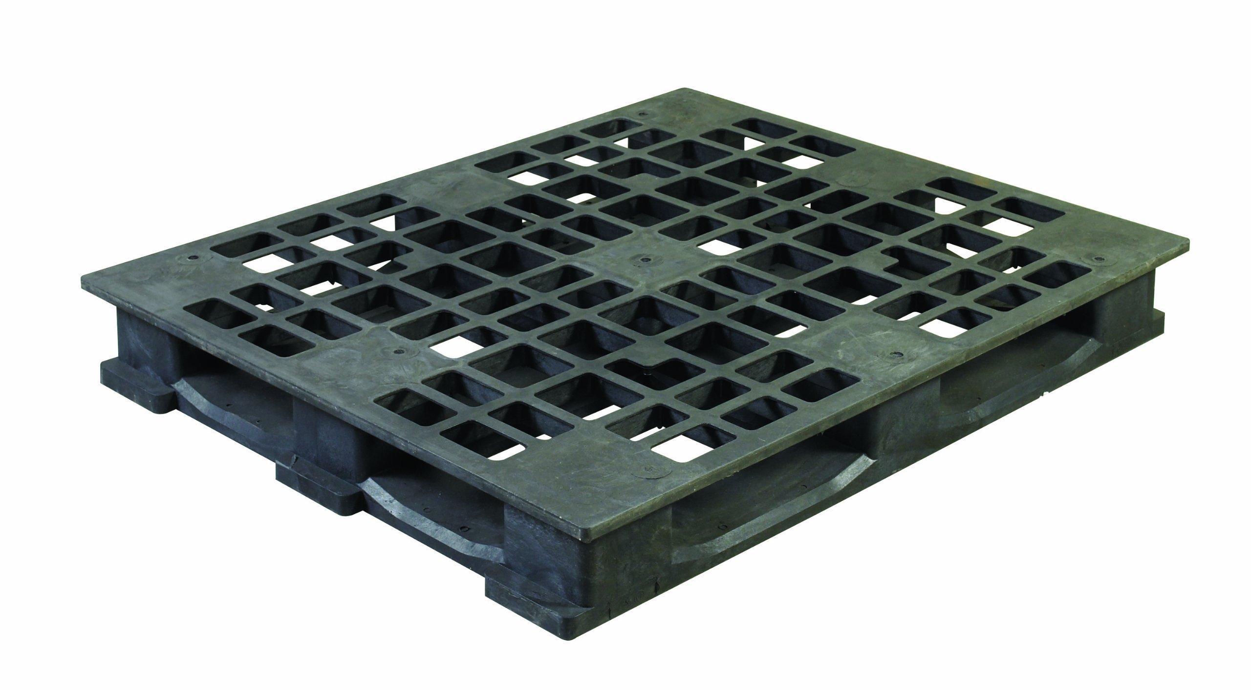 Aviditi CPP736 Rackable Plastic Pallet, 48'' x 40'' x 5 7/10'', Black