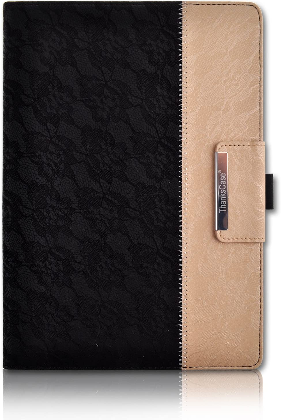 Thankscase iPad 9.7 inch 2018 2017 Case, iPad Air 2 Case, Rotating Case Smart Cover with Stand Build-in Wallet Pocket and Hand Strap for Apple iPad 6th Gen/iPad 5th Gen, (Lace Black Gold)