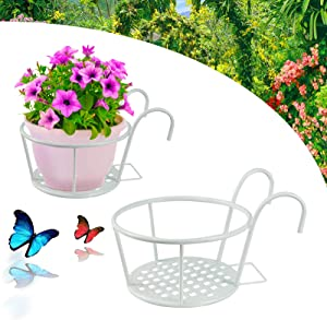 Hanging Railing Planter Baskets,Flower Pot Holder,Iron Flower Pot Holder for Decoration Hanging in Outdoor, Garden, Balcony, Fence (White