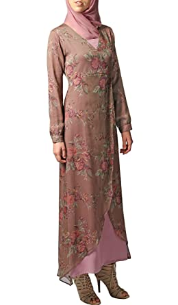 50f37f7e9cf Image Unavailable. Image not available for. Color  Artizara Esra Lilac Floral  Print Long Sleeve Modest Chiffon Maxi Dress ...
