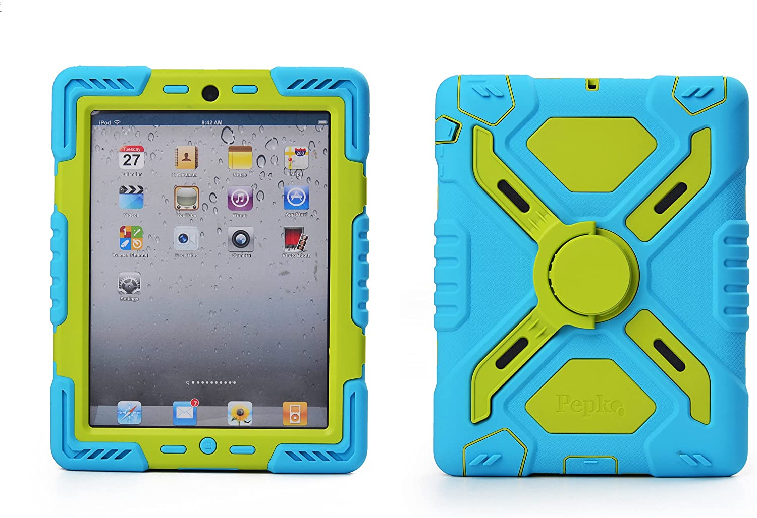 Pepkoo Ipad 2/3/4 Case Plastic Kid Proof Extreme Duty Dual Protective Back Cover with Kickstand and Sticker for Ipad 4/3/2 - Rainproof Sandproof Dust-Proof Shockproof (Blue/Green)