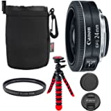 "Canon EF-S 24mm f/2.8 STM Lens, Camera Lens, 12"" Flexible Tripod, Ritz Gear Small Protective Pouch and Accessory Bundle"
