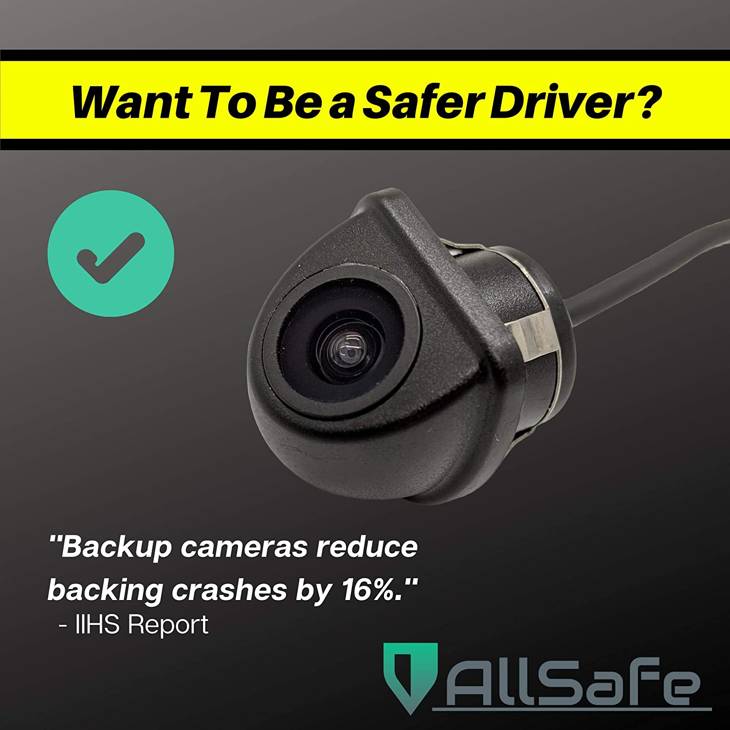 Universal Kit Rear or Side Mount Front AllSafe Auto Snap-Mount Angled Reverse Backup Camera