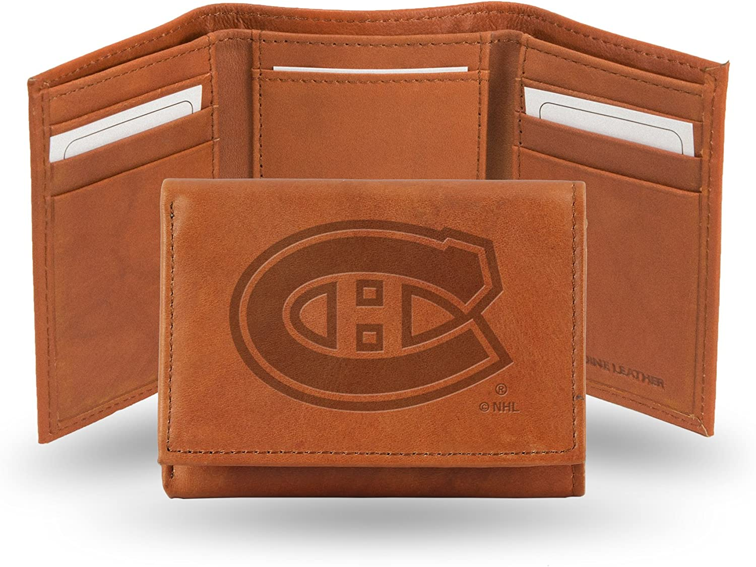 NHL Rico Industries Embossed Leather Trifold Wallet Montreal Canadiens