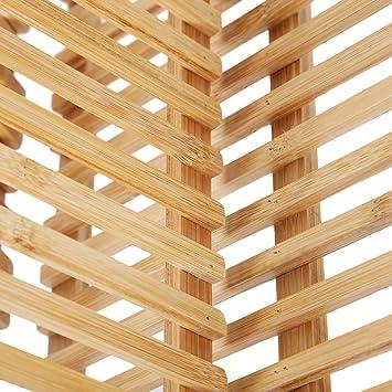 Estante para platos de 18 ranuras bambú plegable compacto (Hankey ...