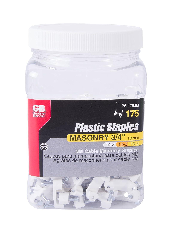 25-Pack GARDNER BENDER INC Gardner Bender PSM-1550T Plastic Clip on Cable Staple 1//2-Inch